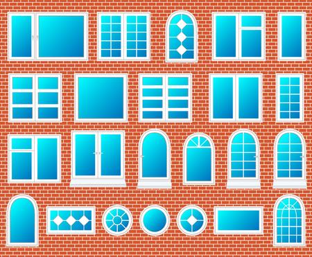 adentro y afuera: Ventanas de plástico conjunto de vectores Vectores