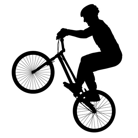 Cyclist performs a trick, rider trial silhouette, bike vector Illustration