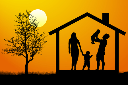 Family with children in the house at sunset, silhouette vector