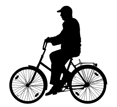 Grandfather on a bicycle silhouette, vector