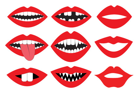 Lips, mouth with teeth, vector set. Photo booth accessory collection. Props retro party set