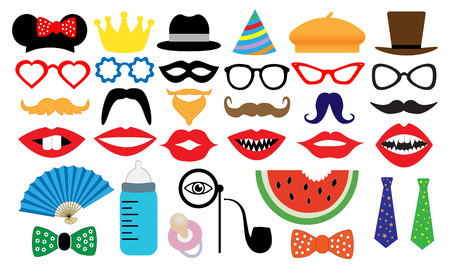 Photo booth accessory collection. Props retro party set. People face fake. Subjects for a photo shoot, session. Childrens entertainment game. Vector illustration mustache, glasses, hat, monocle, tobacco pipe, fan, nipple. Illustration