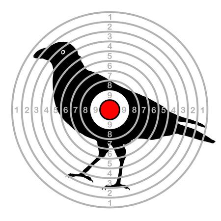 Target shooting bird in a dash Çizim