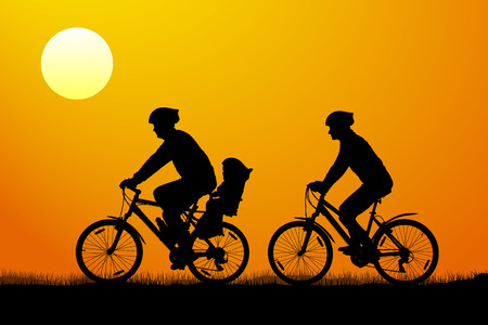 Young couple with child on mountain bikes at sunset, vector silhouette