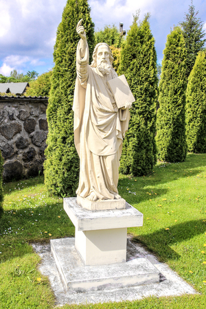 the statue of the Apostle St. Bartholomew, near the Church of the Holy Trinity in Gervyaty, Belarus