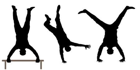 Man ondersteboven silhouet Stock Illustratie