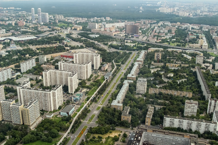Moscow Monorail, Museum of cosmonautics, houses. View from the Ostankino television tower, birds eye view.