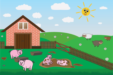 pigsty: pigs, sheep on farm, pasture, vector