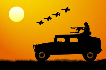 Military operation at sunset silhouette. Attack of the invasion, aircraft fighter, tank, soldier