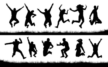 Happy jumping people silhouettes 向量圖像