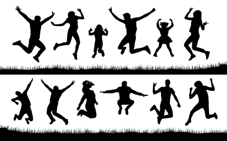 Silhouette of people jumping on the grass Illustration