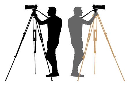 Camera operator on a tripod, photographer, cameraman silhouette Illustration