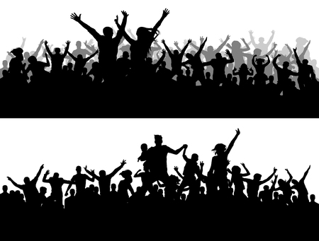 Crowd concert vector silhouette. Sports Championship fans. A large of people party