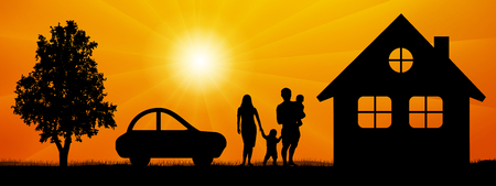 Family, surrounded by nature near a house, car, tree. Man and woman with children at sunset vector silhouette
