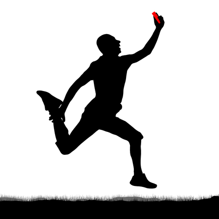 Long jump selfie, silhouette. Original jump of a man with a smartphone in his hand