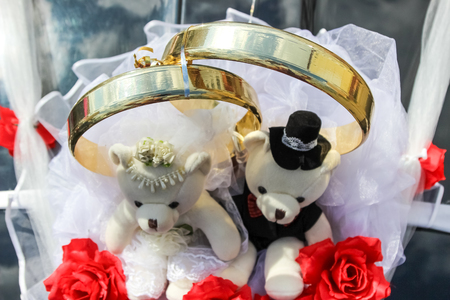 Decoration on car (wedding rings and couple of teddy bears)