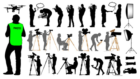 Cameraman, photographer, man and drone, set camera operator on a tripod