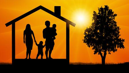 vecteur de silhouette de famille de maison Vecteurs