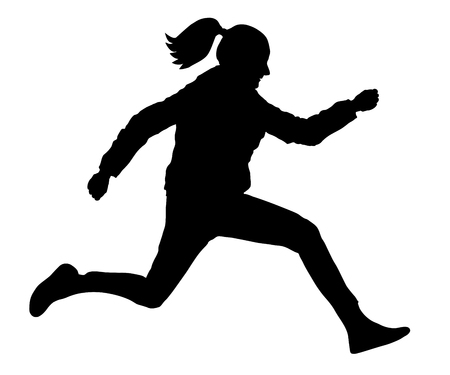 Long jump silhouette icon on white background, vector illustration. Иллюстрация