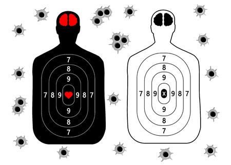 Target for shooting, human silhouette set, bullet holes. Vector illustration isolated