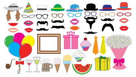 Birthday party set. Vector. Hat, cap, glasses, lips, mustaches, tie, balloons, bouquet and etc., icons. Illustration
