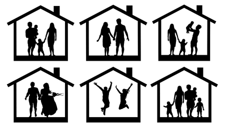 Family silhouette home. Couple man and woman with a child in the house. People jumping vector set icon. Illustration