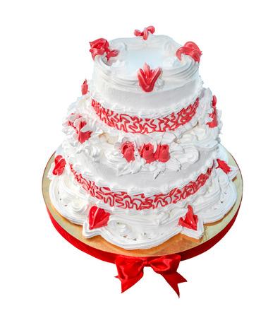 Wedding cake (two levels) isolated on white background