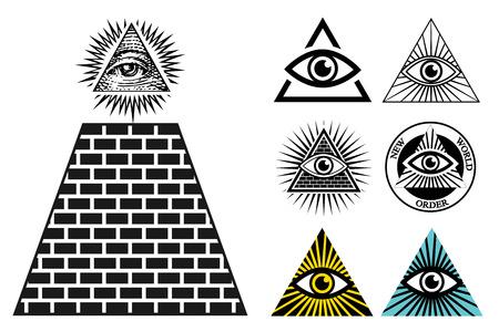 All Seeing Eye icons set pyramid. Illuminati symbol