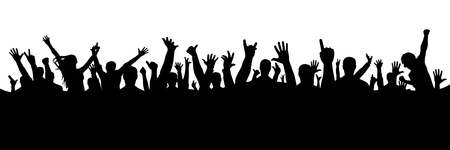 Hand crowd silhouette Vector illustration.
