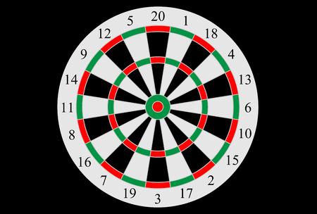 Vector dart board illustration. Vettoriali