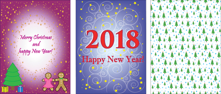 2018 New year and Christmas greeting cards design. Illustration