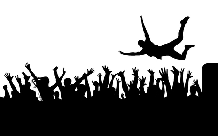 Spring van silhouet naar silhouet van menigte