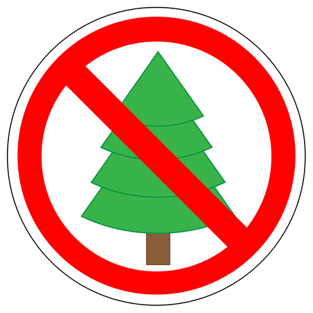 Prohibition sign of Christmas tree vector.