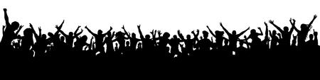 Large crowd of people silhouette vector