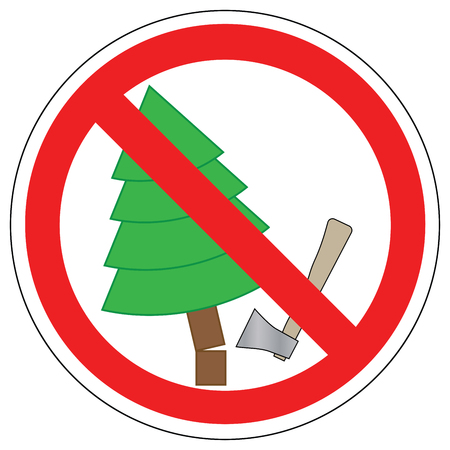 Forbidden to cut Christmas trees, vector. Prohibition sign. Vectores