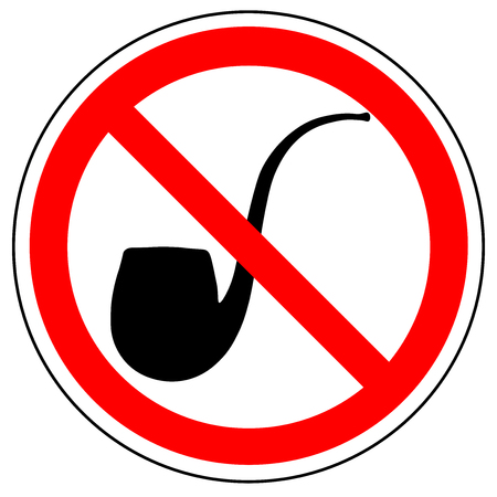 prohibition sign of tobacco pipe, vector