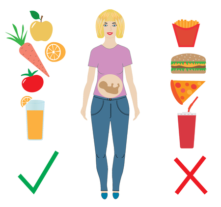 Pregnant woman, healthy and unhealthy food, vector.