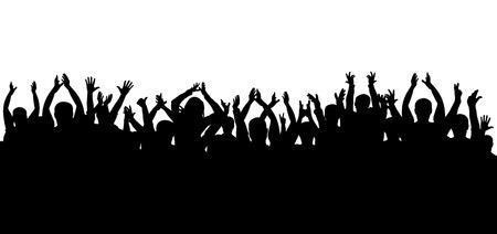 コンサートの孤立したシルエットで拍手の観客