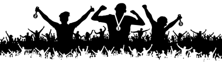 Crowd of sports fans silhouette. Ceremonies of awarding medals. Vector banner