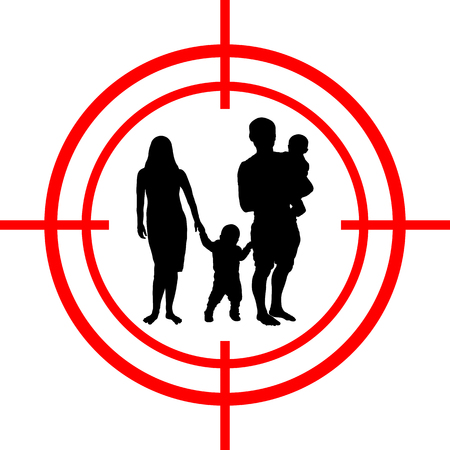 Family under aim. Happiness target Vector illustration.