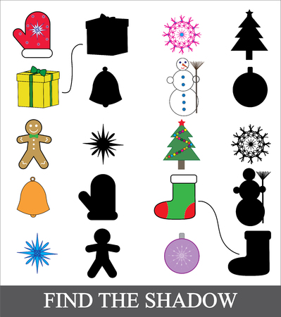 Find the correct shadow. Shadow matching game for children. Christmas icons theme.