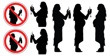 Pregnant woman, bad habits, silhouette. Prohibition signs of smoking and drinking alcohol set.