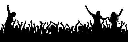 Cheerful fans party crowd. Cheering hands up applause. Crowd of people silhouette. Vectores