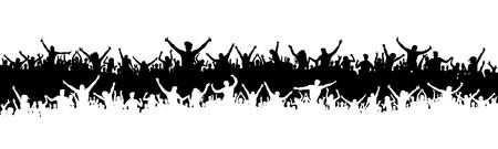 Juichende fans, sport silhouet menigte. Partij, mensen vector. Applaus concertdisco. Poster evenement banner achtergrond geïsoleerd.