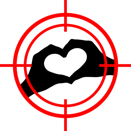 Love under aim. Heart target Illustration