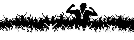 Sports man victory silhouette. Crowd of fans, cheering. Banner, vector background