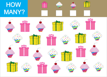 Counting game for children. Count how many cupcake with gift and write the result. Illustration