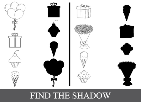 Game for kids, find the shadow of holiday icons. Illustration