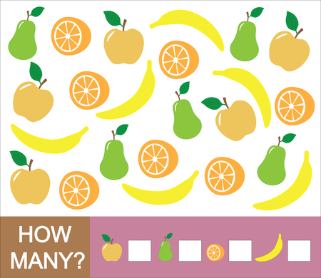 Counting educational game for children. How many fruits (apple, pear, orange, banana). Learning numbers, mathematics. Stock Illustratie