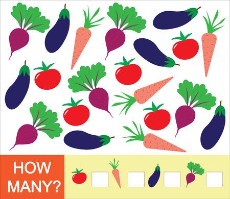 Getallen leren, wiskunde, telspel voor kinderen. Hoeveel groenten (tomaat, biet, aubergine, wortel). Vector illustratie